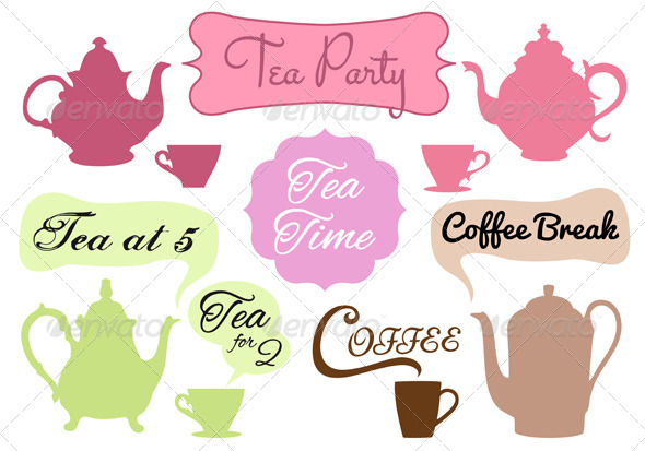 GraphicRiver Tea Time Coffee Break Vector Set 4926467