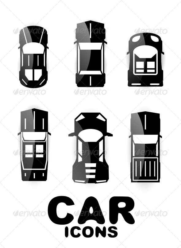 GraphicRiver Black Glossy Car Icon Set 4926572