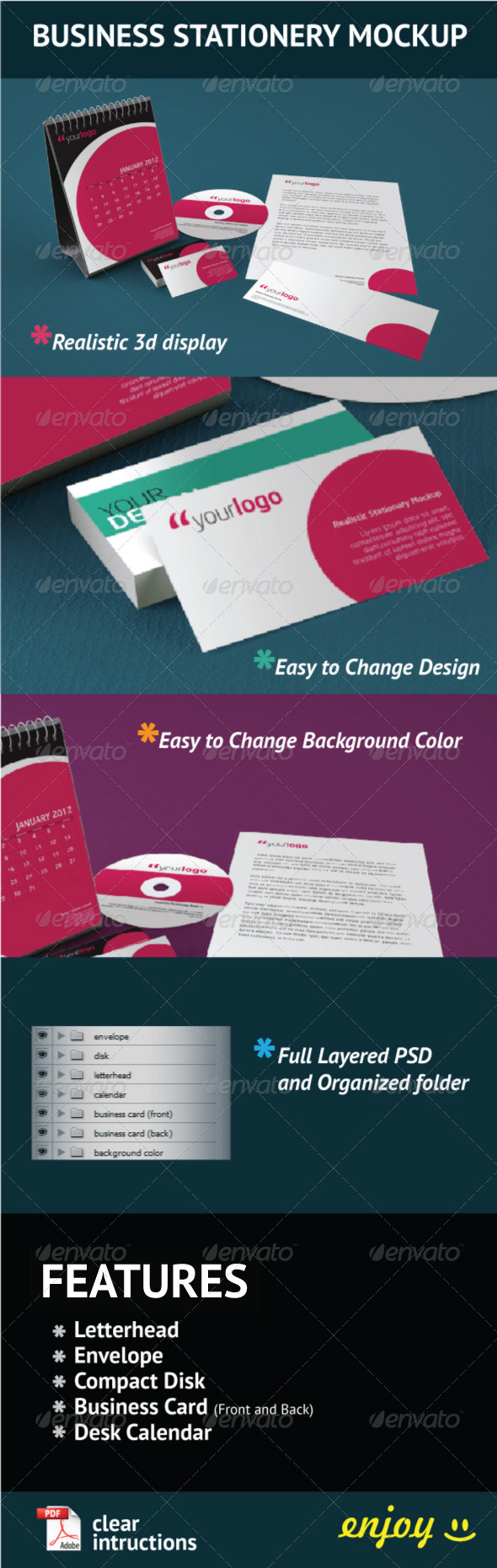 GraphicRiver Business Stationery Mock Up 508032