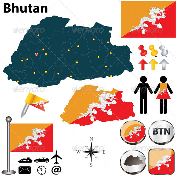 GraphicRiver Map of Bhutan 4927456