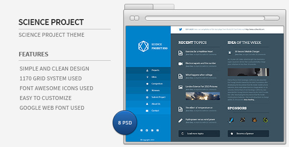 ThemeForest Science Project PSD Template 4881773