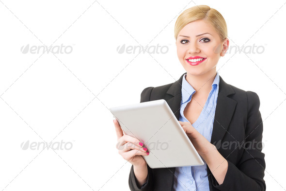 Cute happy businesswoman using digital tablet - Stock Photo - Images