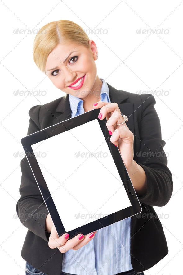 Happy young blonde businesswoman showing tablet computer screen - Stock Photo - Images
