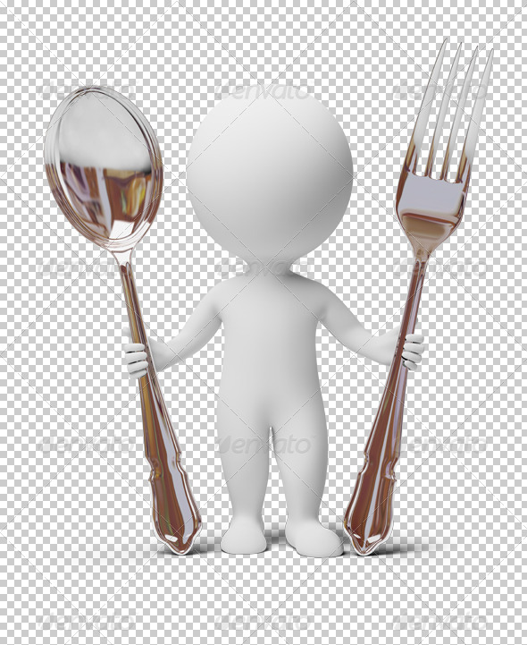 GraphicRiver 3D small people fork and spoon 4927981