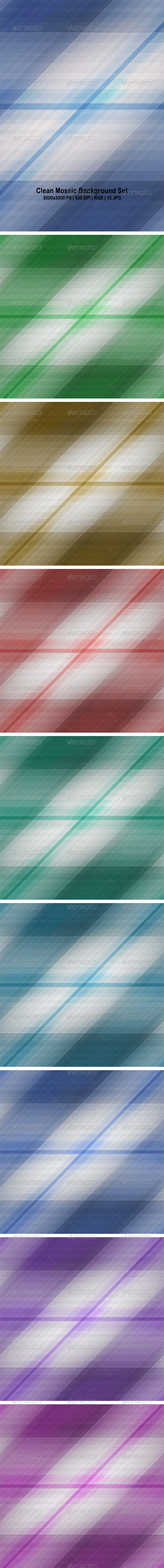 Clean Mosaic Background Set - Backgrounds Graphics