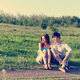 Summer portrait of young couple outdoors. Soft evening sunlight - PhotoDune Item for Sale