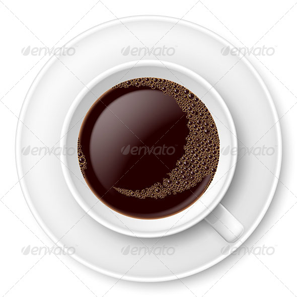 GraphicRiver White Mug of Coffee with Foam and Saucer 4929702