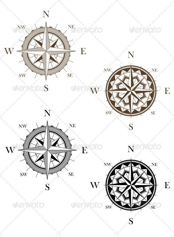 GraphicRiver Set of Vintage Compass Signs 4930292