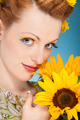 Summer Makup with sunflowers in the head - PhotoDune Item for Sale