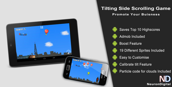 CodeCanyon Tilting Side Scrolling Game Promote Any Business 4930863
