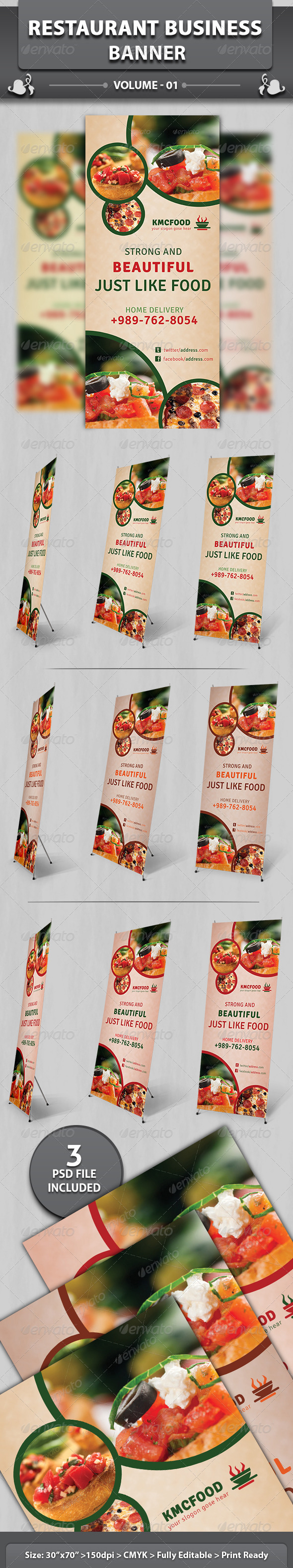 Restaurant Business Banner - Signage Print Templates