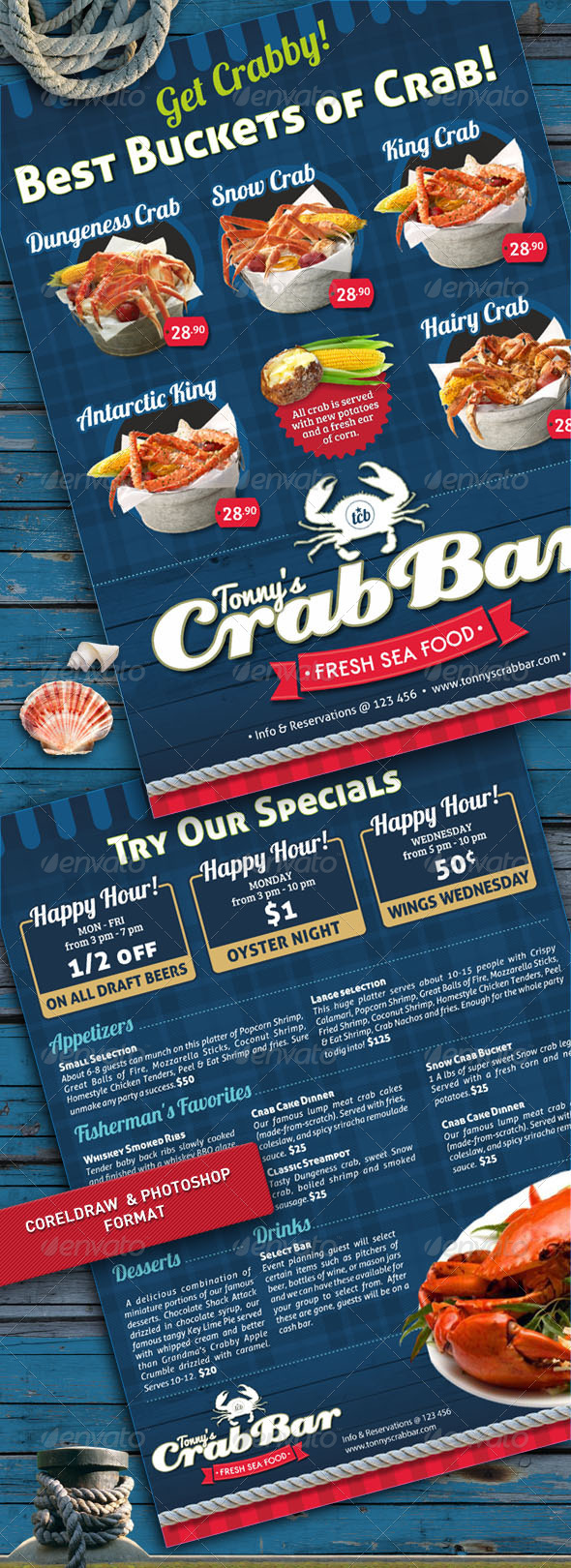 GraphicRiver Crab Bar Menu Flyer Template 4933076