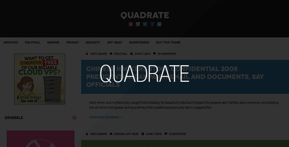 Quadrate WordPress Theme - Blog / Magazine WordPress