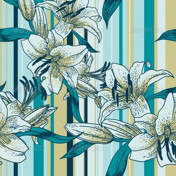 GraphicRiver Beautiful Seamless Pattern with Lilies 4935428