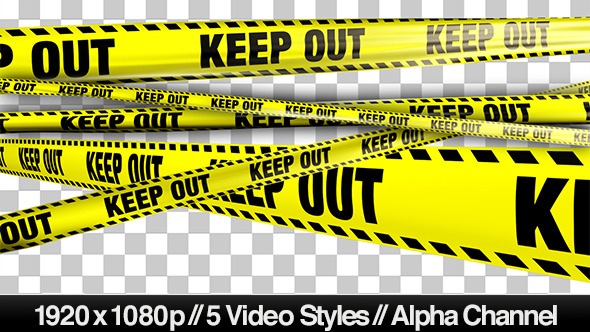 VideoHive Yellow Keep Out Boundary Tape 5 Videos 4935607