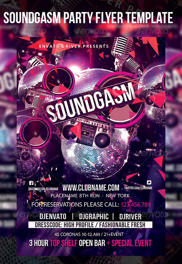 Soundgasm Party Flyer Template - Events Flyers