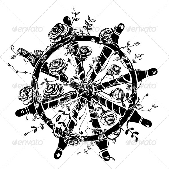 GraphicRiver Steering Wheel with Roses 4936689