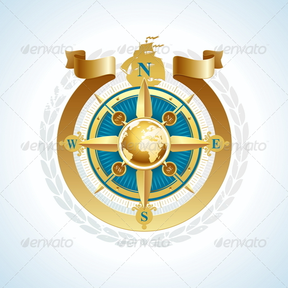 GraphicRiver Golden Compass Rose with Globe and Ribbon 4938952