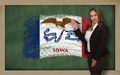 Teacher showing flag ofiowa on blackboard for presentation marke - PhotoDune Item for Sale