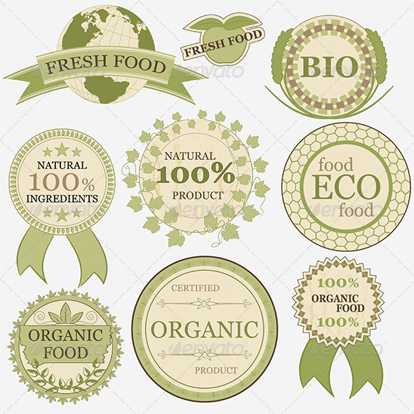 GraphicRiver Set of Eco Bio Natural Labels Retro Vintage Style 4939585