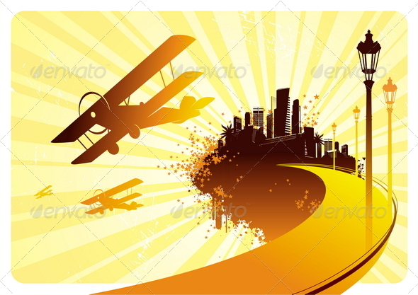 GraphicRiver Silhouettes of Retro Biplane & Road to City 4939597