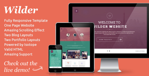 ThemeForest Wilder Flat One Page Responsive Website Template 4939837