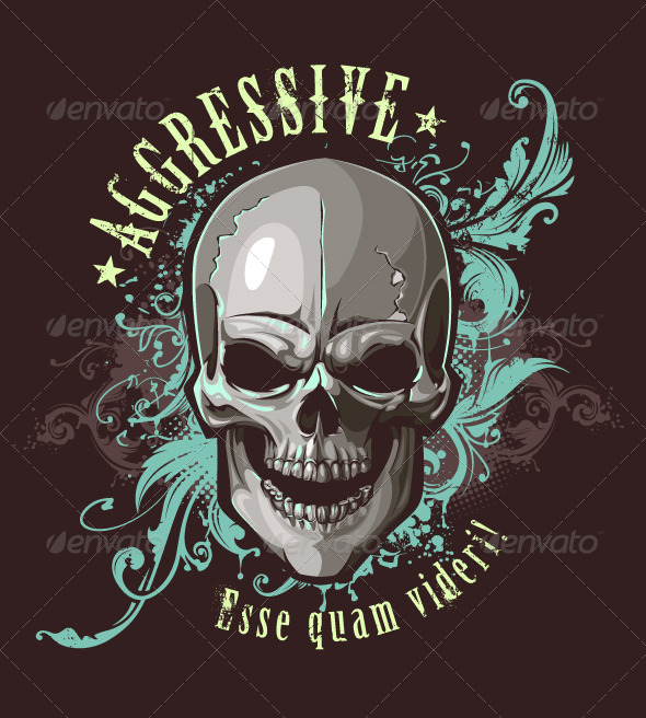Grunge Image with Skull - Vectors