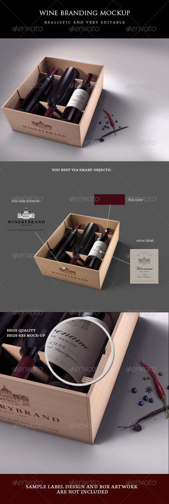 Wine Case Mock-up - Food and Drink Packaging