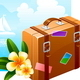 Travel Suitcase and Tropical Flowers - GraphicRiver Item for Sale