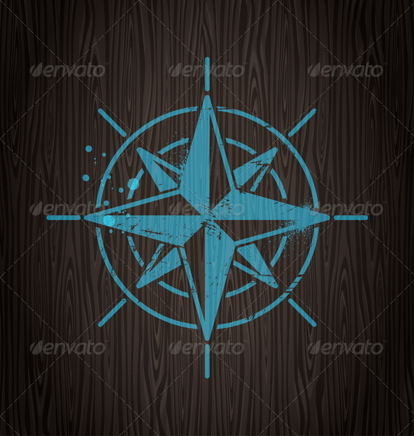 GraphicRiver Vector Compass Rose Painting on a Wooden Wall 4940588