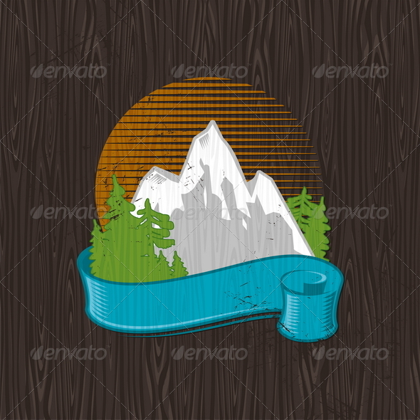 GraphicRiver Landmarks Emblem Painting on a Black Wood Board 4940775