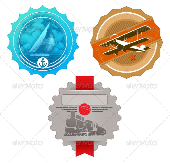 GraphicRiver Vector Vintage Labels with Retro Transport 4941249