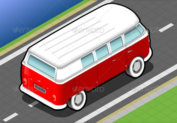GraphicRiver Isometric Bicolor Van in Rear View 4941276