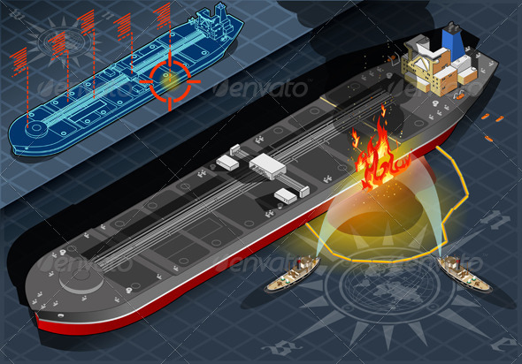 GraphicRiver Isometric Oil Tanker Fire Disaster in FrontView 4941435