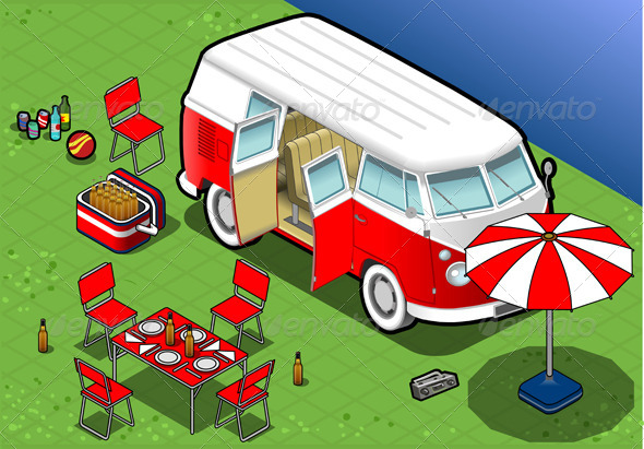 GraphicRiver Isometric Bicolor Van in Camping in Front View 4941527