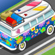 Isometric Flower Van in Rear View - GraphicRiver Item for Sale