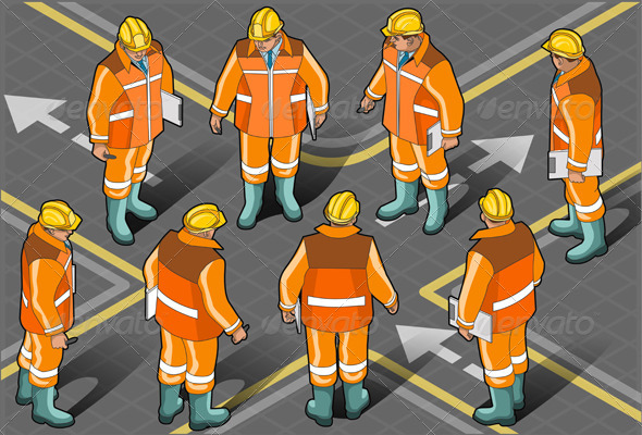 GraphicRiver Isometric Standing Foreman in Eight Positions 4941872