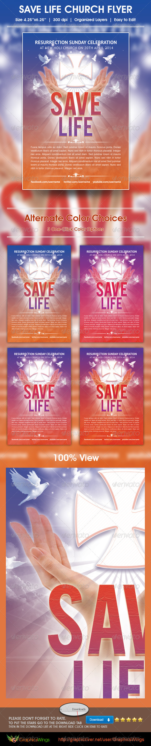 GraphicRiver Save Life Church Flyer Template 4942058