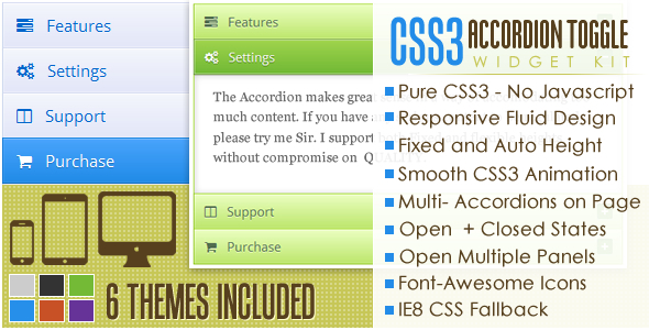 CodeCanyon CSS3 Accordion and Toggle Widget Kit 4943428