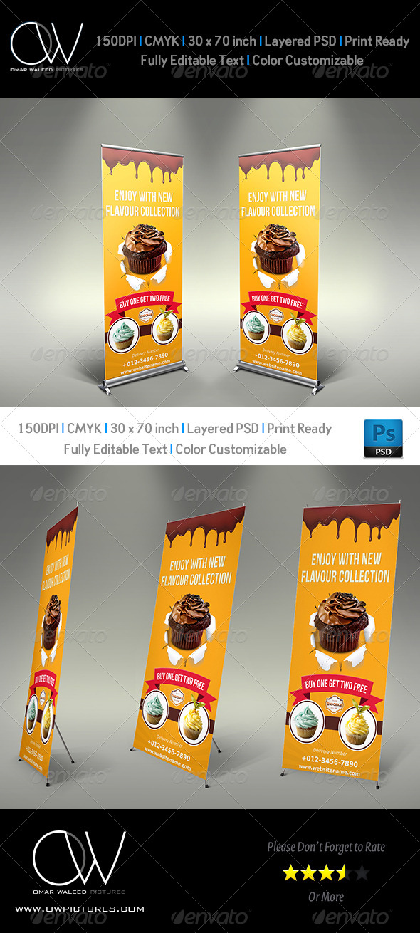 Cake Signage Roll-Up Banner Vol.2 - Signage Print Templates