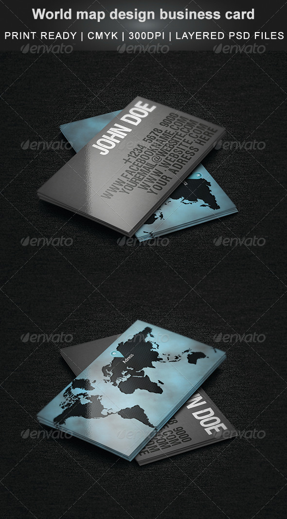 World Map Design Business Card - Corporate Business Cards