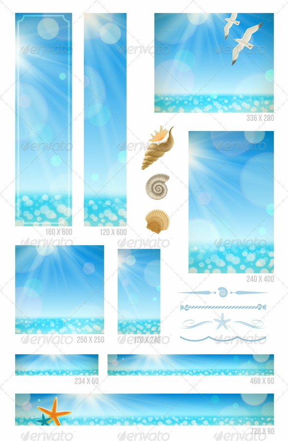 GraphicRiver Sunny Seascape Backgrounds Set of Web Banners 4947766