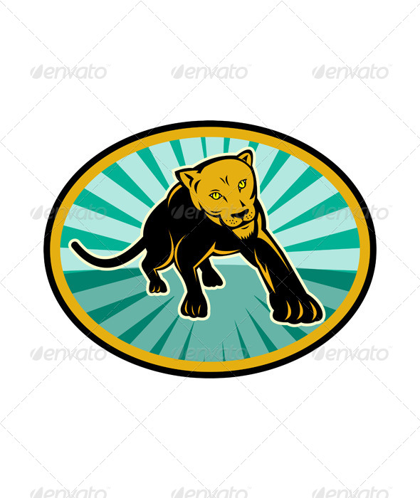 GraphicRiver Lioness Big Cat Pouncing Retro 4947830