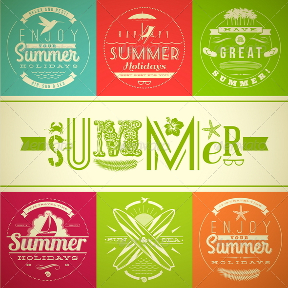 GraphicRiver Summer Vacation and Holidays Lettering Emblems 4947839