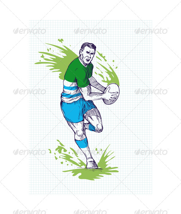 GraphicRiver Rugby Player Running Passing Ball Sketch 4947865