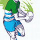 Rugby Player Running Passing Ball Sketch - GraphicRiver Item for Sale