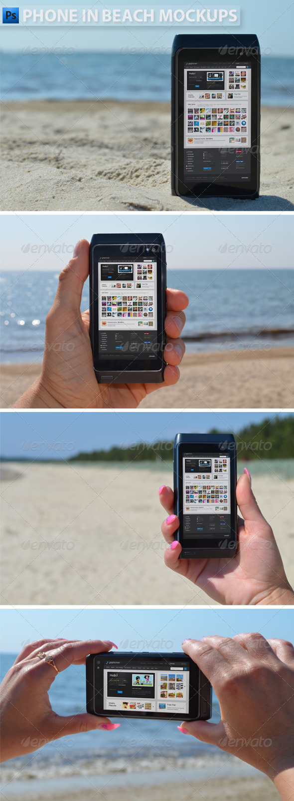 GraphicRiver Phone in Beach Mock-ups 4947975