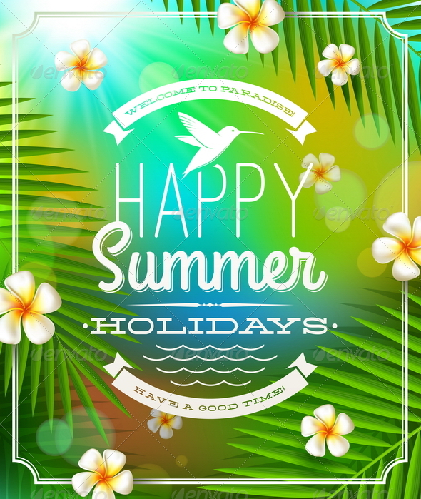GraphicRiver Summer Holidays Emblem and Flowers 4947988