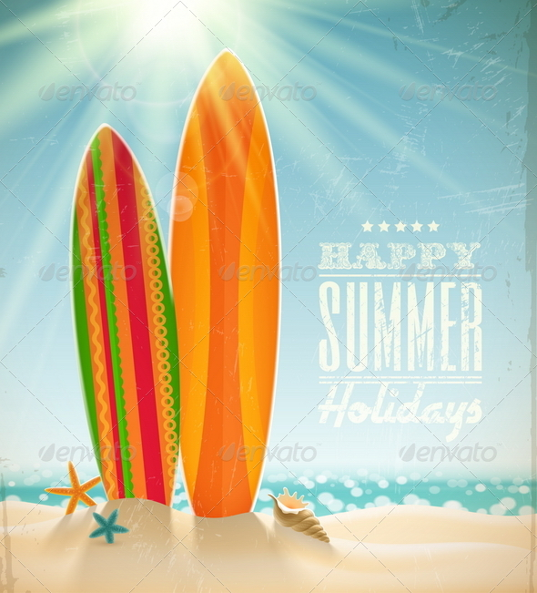GraphicRiver Vintage Surfboards on a Sunny Beach 4948041