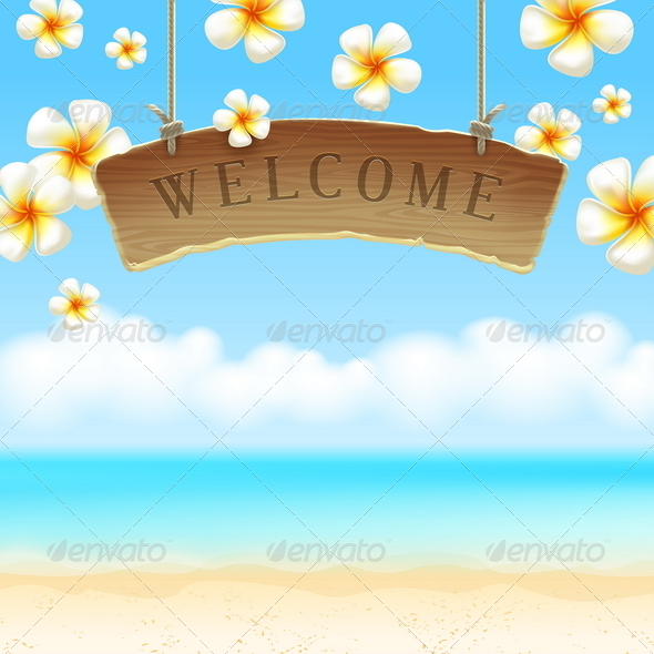 GraphicRiver Signboard Welcome Over Tropical Beach 4948121